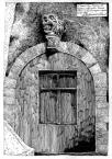 Вул. Руська №4.<br />             Портал офіцини. Голова лева із виноградним гроном.<br />             06.04.1996